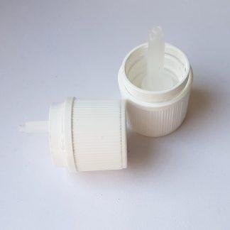 Műanyag kupak – cseppentőbetétes, gyerekzáras (18 mm)